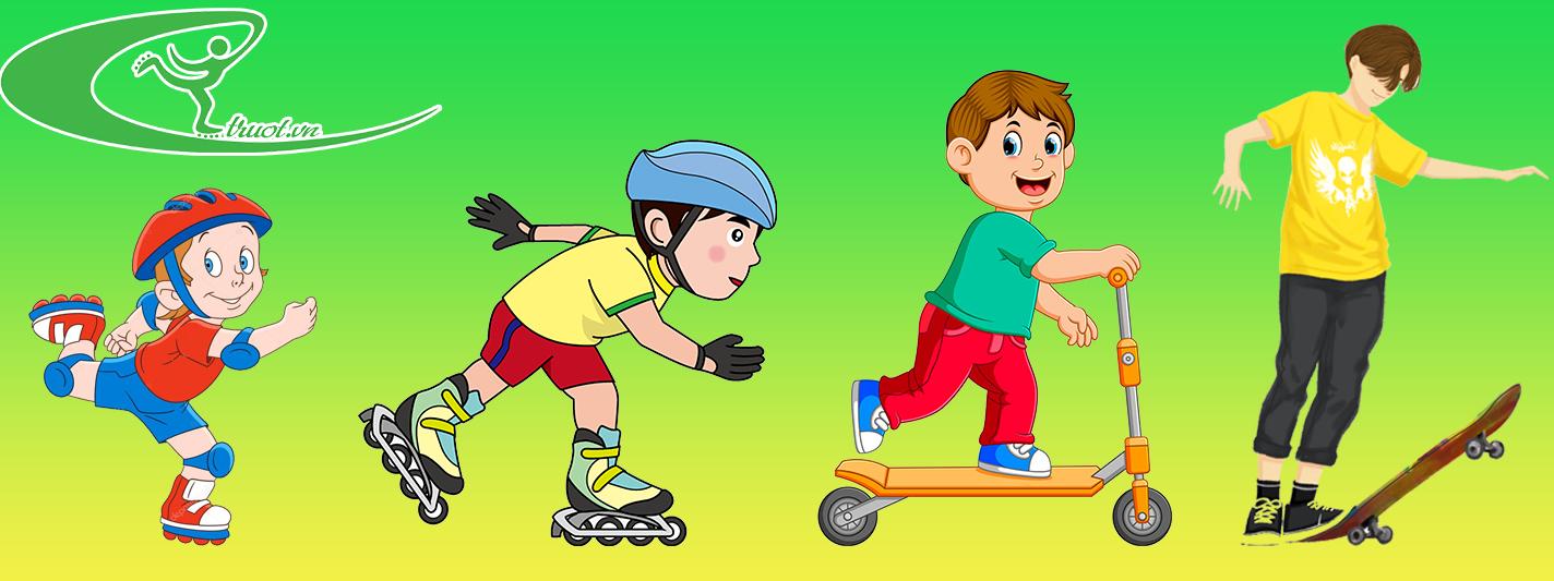 trẻ trượt patin